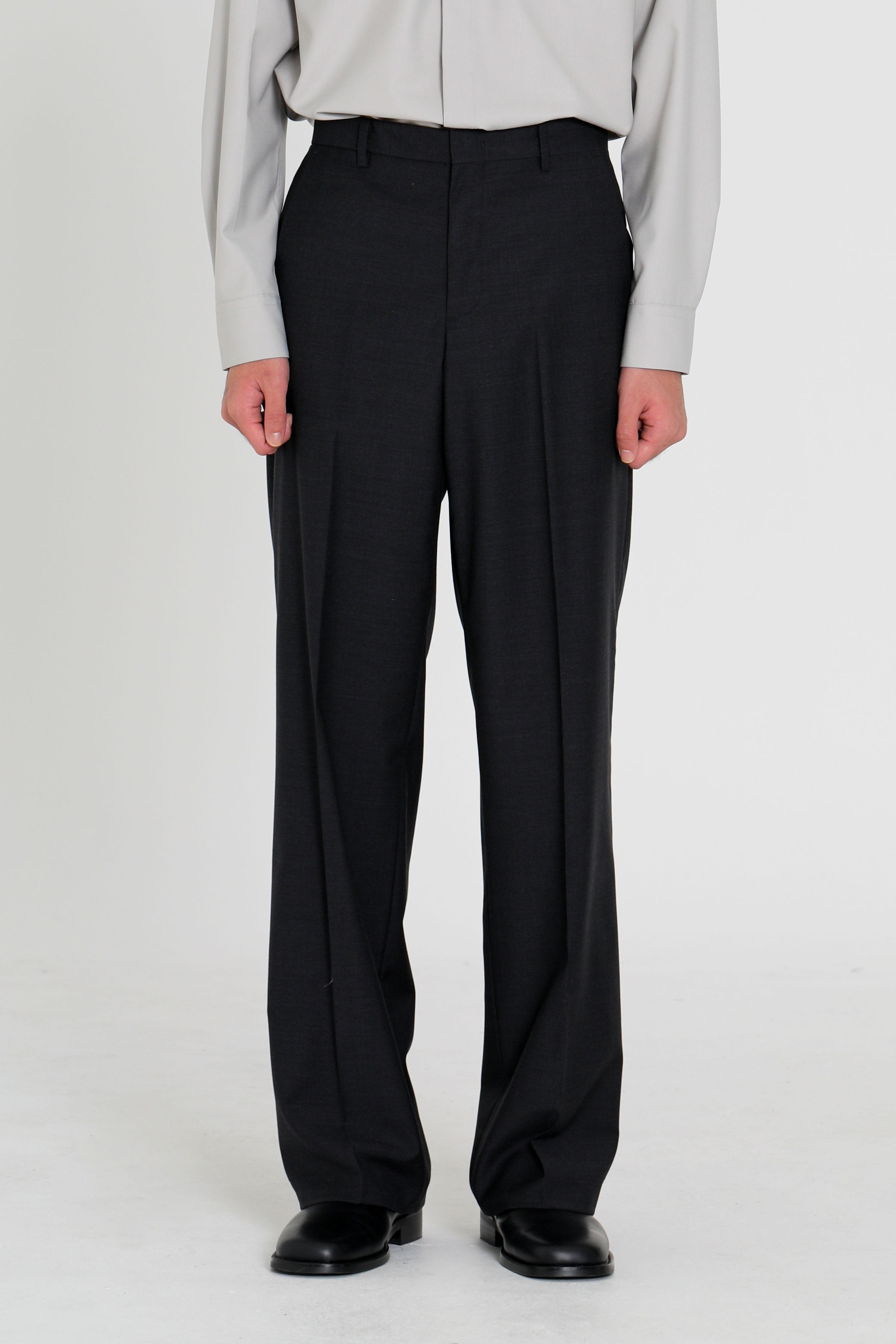 Wide wool trousers - dark gray