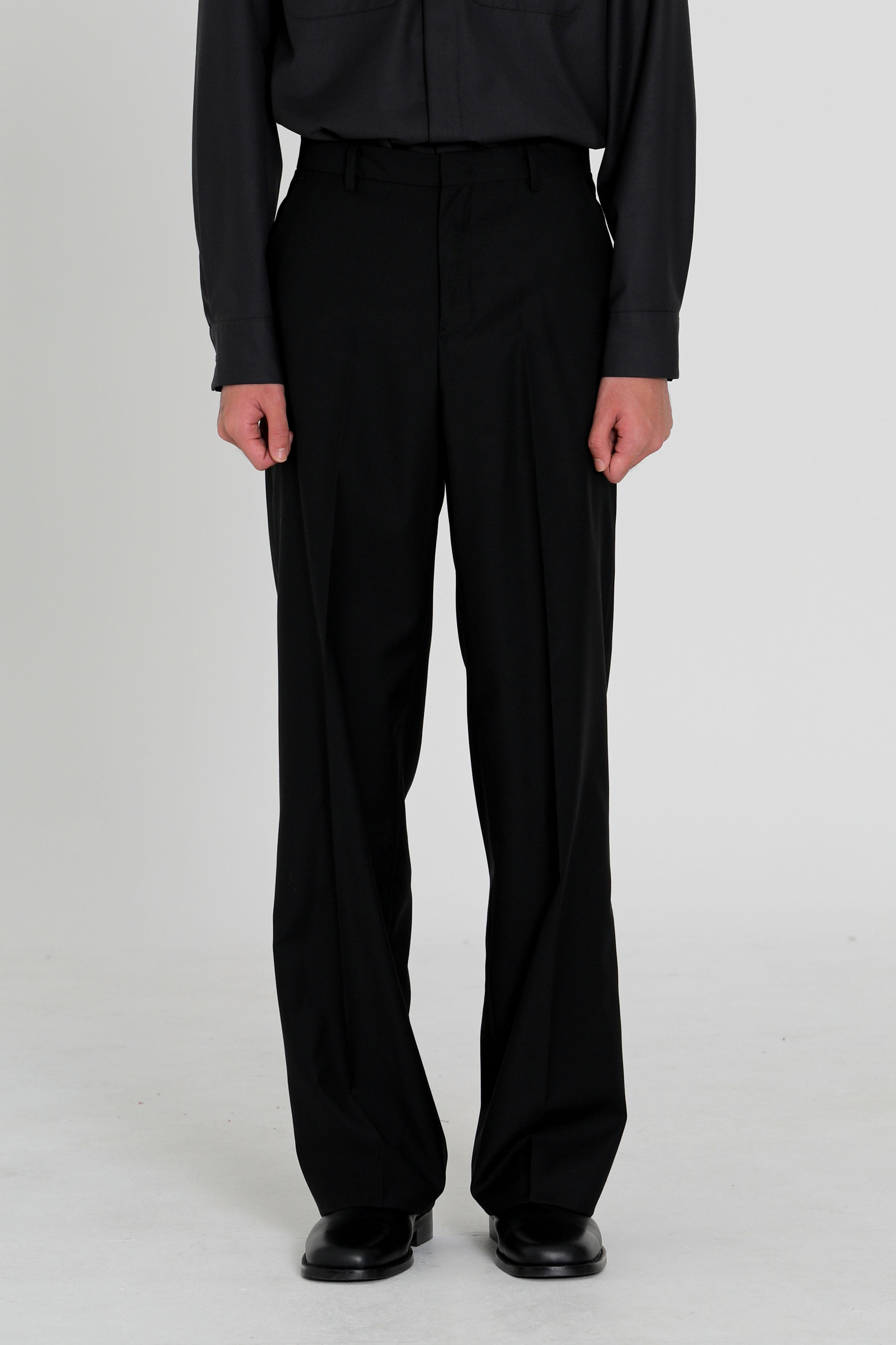 Wide wool trousers - black